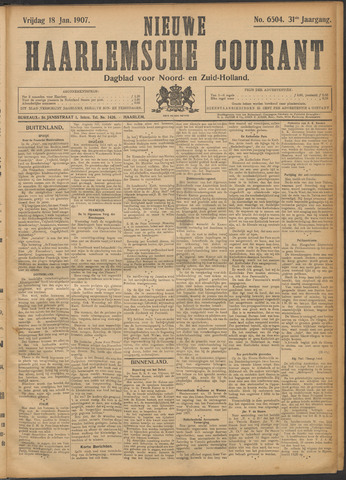 Nieuwe Haarlemsche Courant 1907-01-18