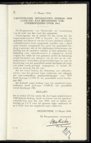 Raadsnotulen Heemstede 1944-03-13