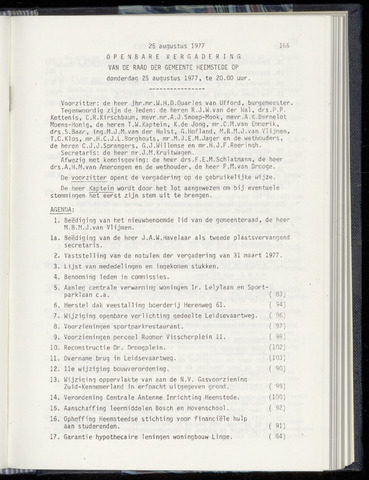 Raadsnotulen Heemstede 1977-08-25