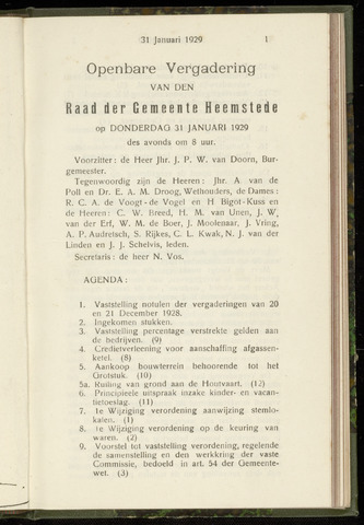 Raadsnotulen Heemstede 1929-01-31