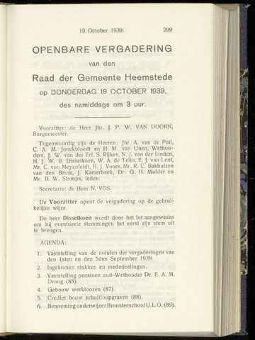 Raadsnotulen Heemstede 1939-10-19