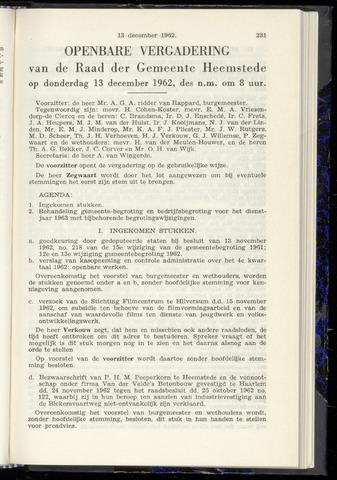 Raadsnotulen Heemstede 1962-12-13