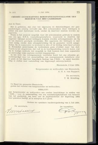 Raadsnotulen Heemstede 1954-07-01