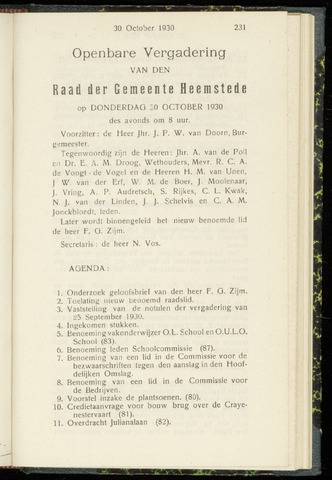 Raadsnotulen Heemstede 1930-10-30