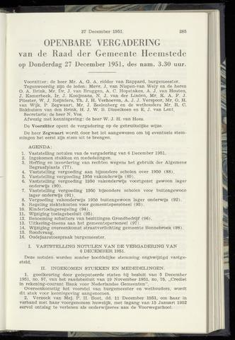 Raadsnotulen Heemstede 1951-12-27