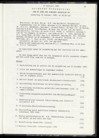Raadsnotulen Heemstede 1983-02-24