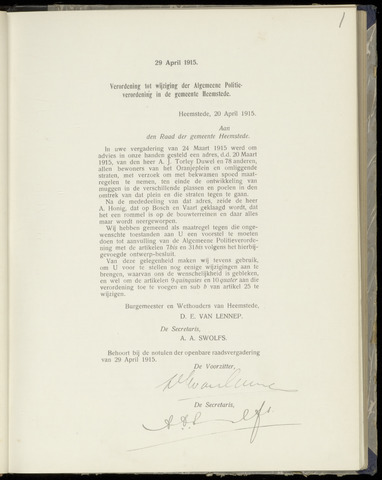 Raadsnotulen Heemstede 1915-04-29