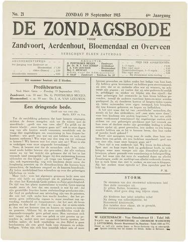 De Zondagsbode voor Zandvoort en Aerdenhout 1915-09-19