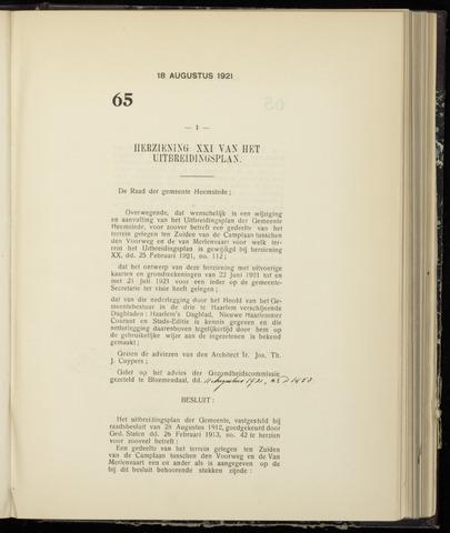 Raadsnotulen Heemstede 1921-08-18