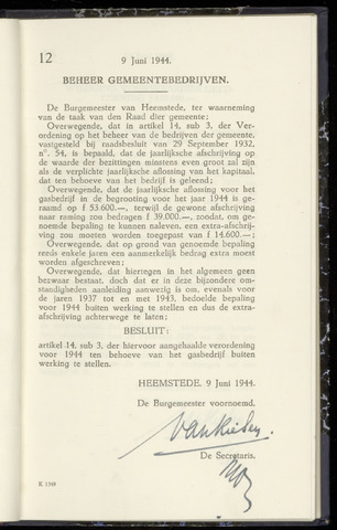 Raadsnotulen Heemstede 1944-06-09