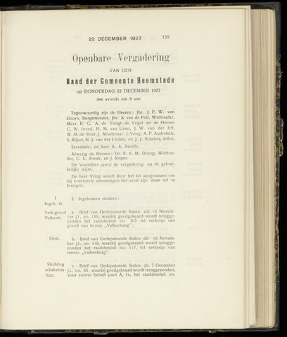 Raadsnotulen Heemstede 1927-12-22