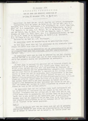 Raadsnotulen Heemstede 1974-12-20