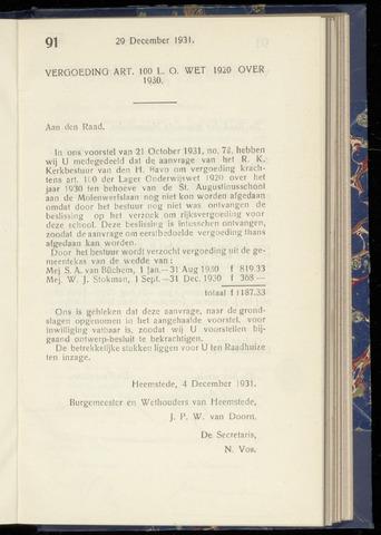 Raadsnotulen Heemstede 1931-12-29