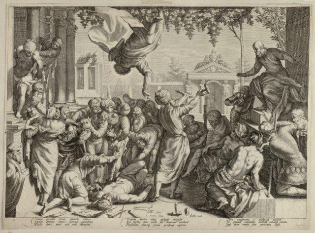 De evangelist Marcus daalt neer uit de hemel en redt een slaaf van zijn marteling. De martelwerktuigen breken. <br> Gravure door Jacob Matham naar het schilderij van Jacopo Tintoretto met Latijns onderschrift van Cornelius Schonaeus, uitgegeven door Claes Jansz. Visscher, gesigneerd.