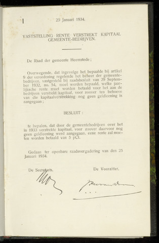 Raadsnotulen Heemstede 1934-01-25