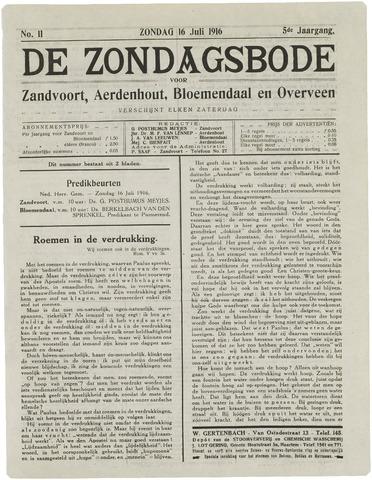 De Zondagsbode voor Zandvoort en Aerdenhout 1916-07-16