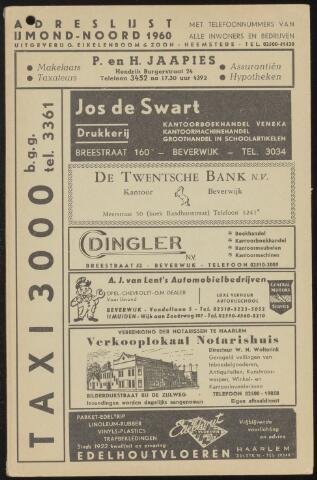 Adresboeken Beverwijk, Heemskerk, Velsen-Noord 1960