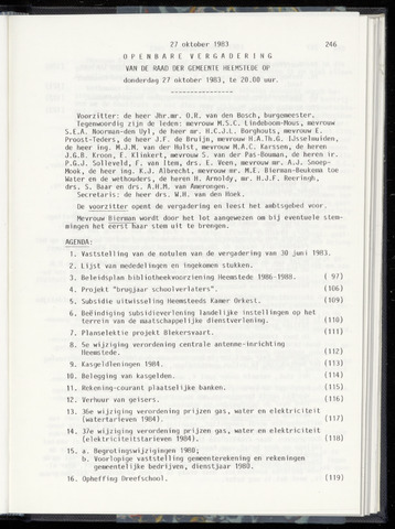 Raadsnotulen Heemstede 1983-10-27