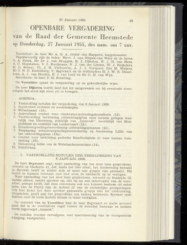 Raadsnotulen Heemstede 1955-01-27