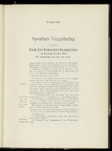 Raadsnotulen Heemstede 1916-04-25