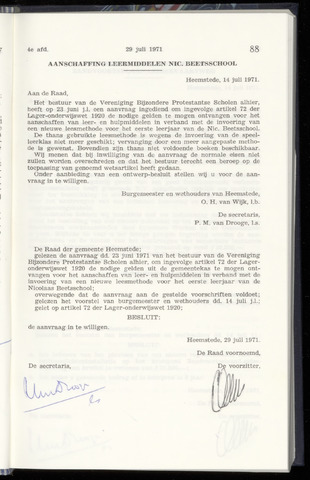 Raadsnotulen Heemstede 1971-07-29