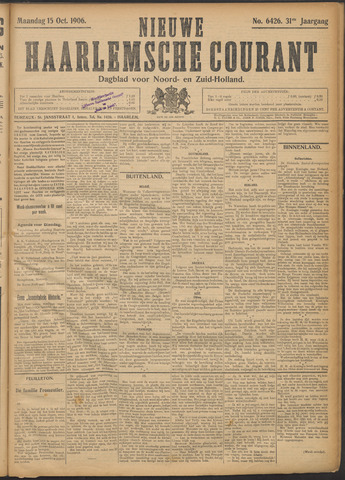 Nieuwe Haarlemsche Courant 1906-10-15