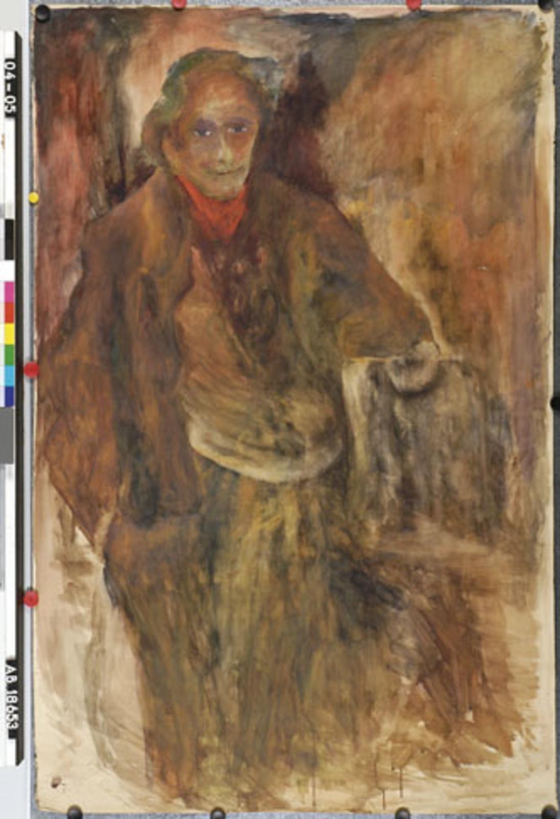 Groot formaat /opgerold: man (kunstenaar), mogelijk Willem Arondeus (zie gelijkn.biogr.Rudi v Dantzig)