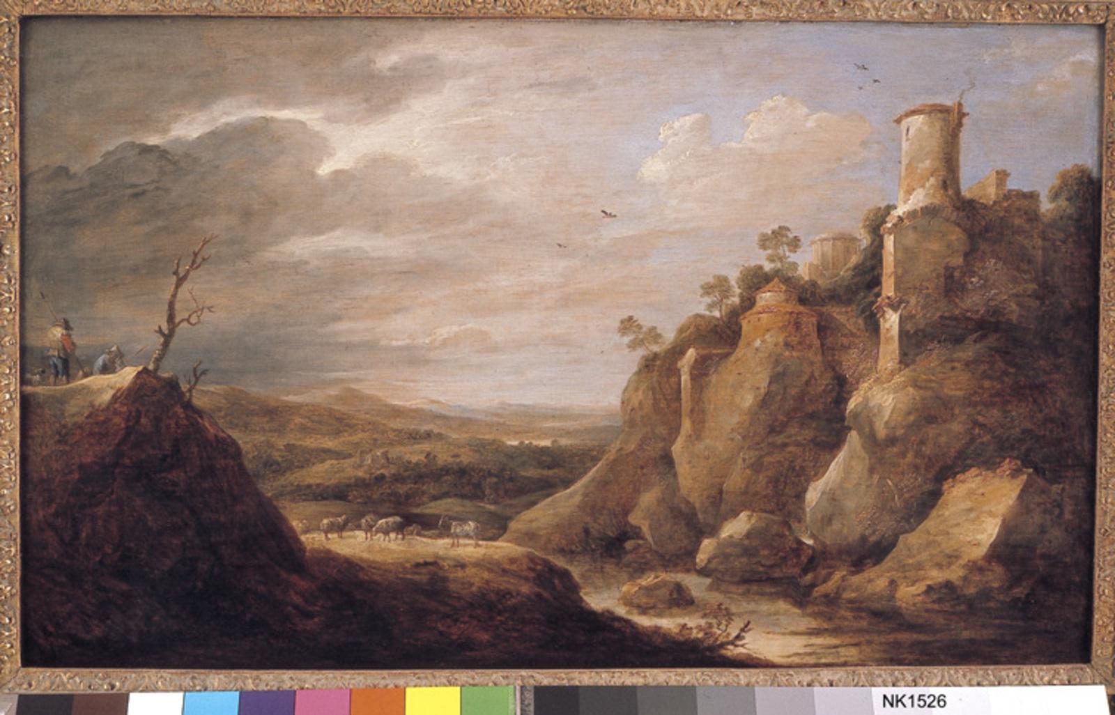 Berglandschap met veehoeder, vee en ruïnes