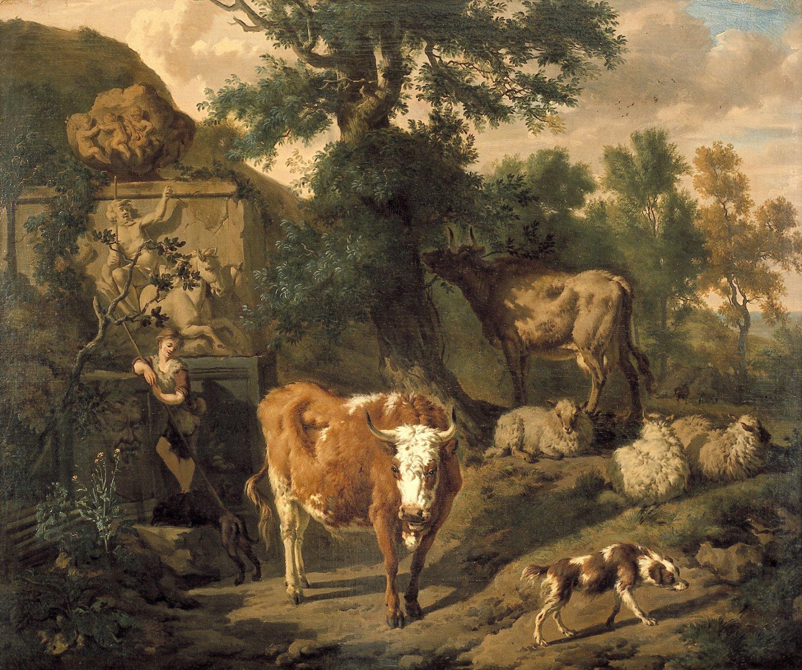 Landschap met herder bij een antieke graftombe, met op de voorgrond een bruin met witte koe en een hond.