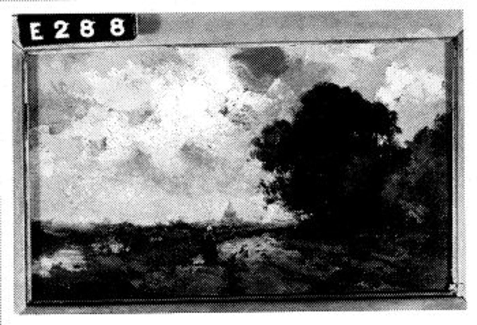 Landschap met landweg, sloot en donkere lucht
