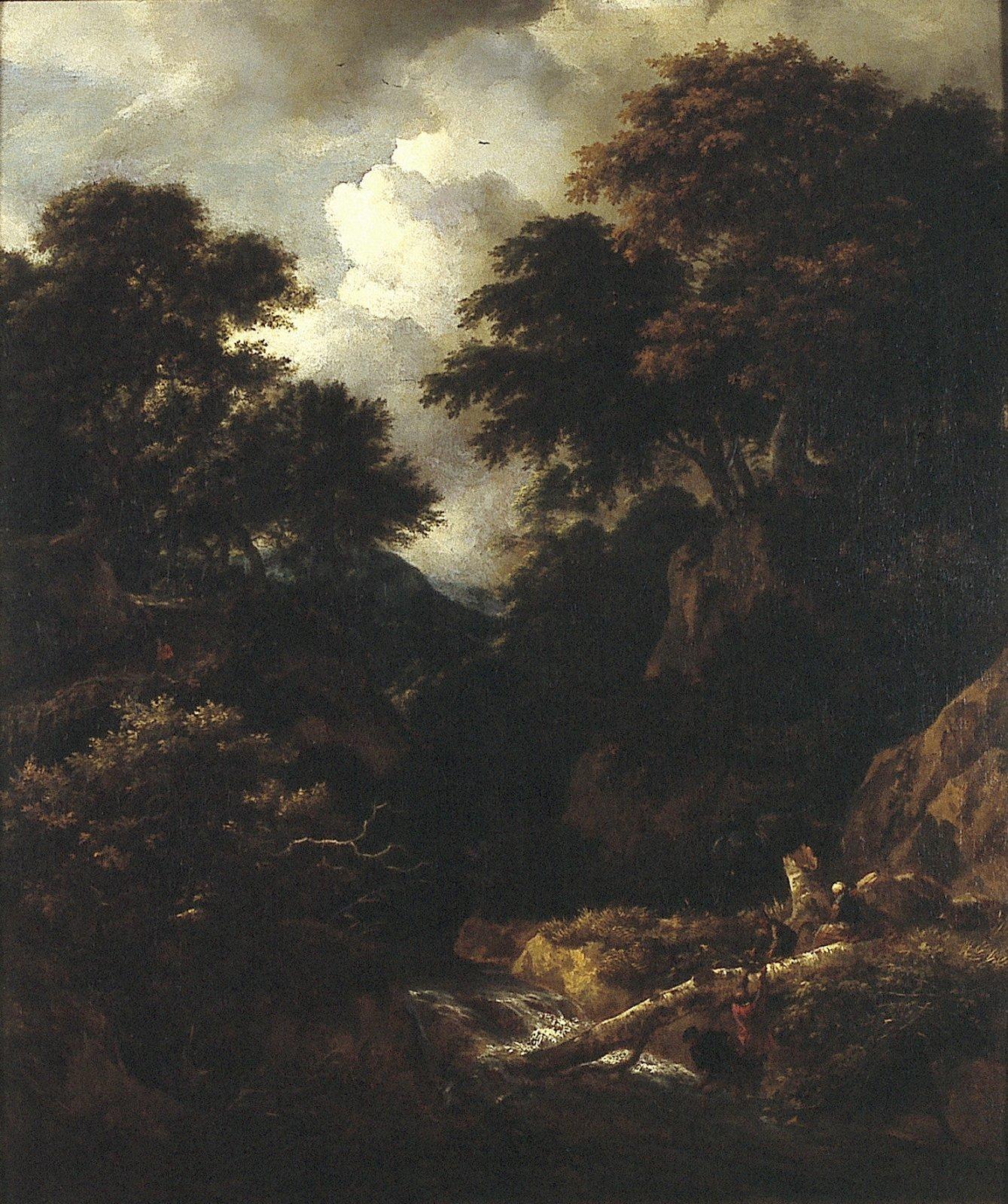 Boslandschap met een bergstroom en figuren