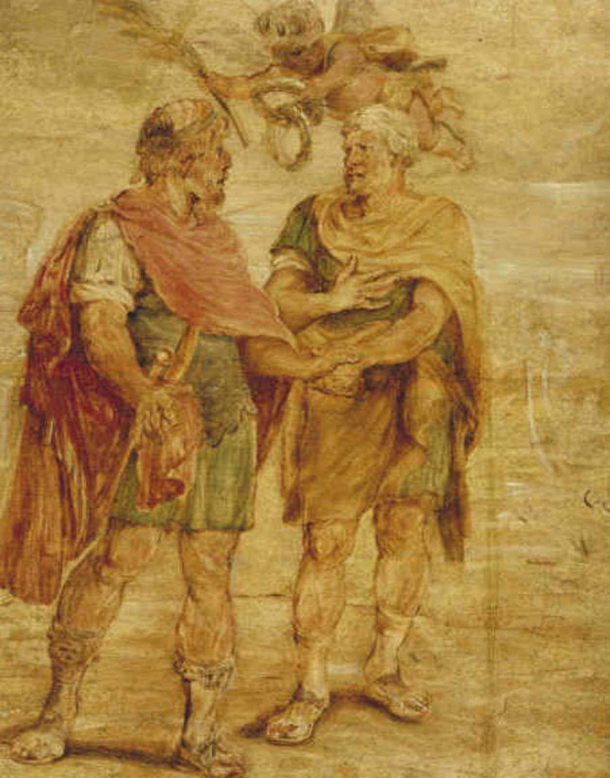 Twee Romeinse veldheren (Romulus en Titus Tatius)