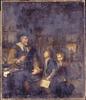 Schoolmeester die twee jongens straft
