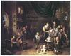 Het altelier van een beeldhouwer met bezoekers