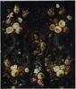 Schikking van bloemen rond een stenen cartouche met een voorstelling van Maria met Christus en Johannes de Doper als kinderen