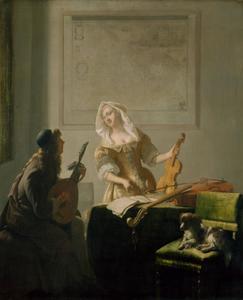 Luitspeler en vrouw met viool in een interieur
