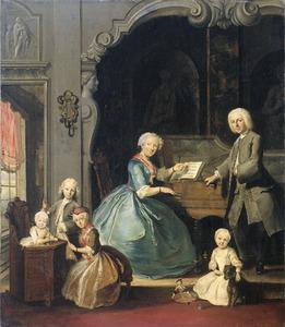 Familiegroep bij een clavecimbel