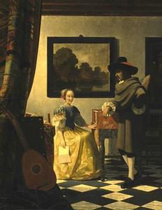 Interieur met een man en een vrouw met een brief