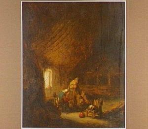 Boerenfamilie in een schuur