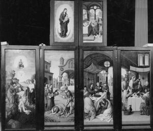 De doop van Christus, Salome krijgt het hoofd van Johannes de Doper (buitenzijde linkerluik); Christus' voeten worden door Maria Magdalena gezalfd, Christus' hoofd wordt door Maria Magdalena gezalfd (buitenzijde rechterluik); Maria in Mandorla (buitenzijde linker bovenluik); De Gregoriusmis (buitenzijde rechter bovenluik); Scala Salutis met mannelijke en vrouwelijke schenkers (buitenzijde predellaluiken)