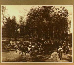 Boslandschap met boeren op karren door een riviertje