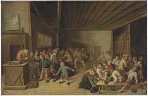 Interieur van een klaslokaal met een schoolmeester en leerlingen