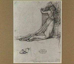 Knielende vrouw bij een altaar