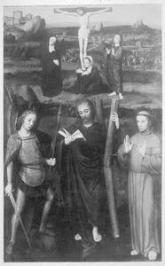 De HH. Michael, Andreas en Franciscus met in de achtergrond de kruisiging