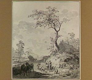 Landschap met herders en vee