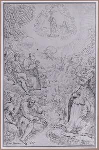 Heiligen aanbidden Christus met kruis
