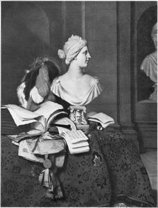 Interieur met een stilleven van een borstbeeld, boeken, een luit  en een hoed met veren gerangschikt op een met een oosters kleed bedekte tafel