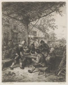 Rokend gezelschap met kaartenspelers voor een herberg