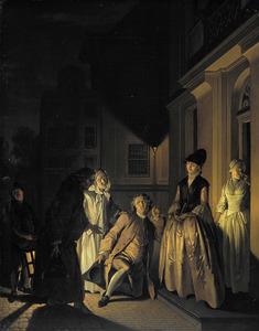 Scène uit 'Lubbert Lubbertse of de geadelde boer' door M. van Breda (1686)