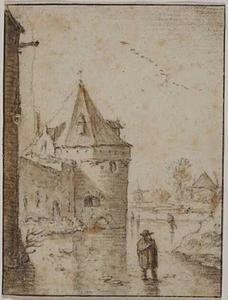 Waltoren De Vos te Utrecht gezien vanaf de bevroren gracht tussen de stadsmuur en het aarden bolwerk Wolvenburg